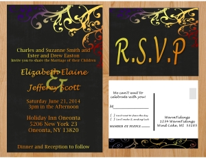 Wedding Invitation - Multi Color Chalkboard