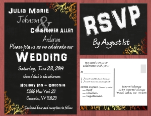 Wedding Invitation - Black and White with Color