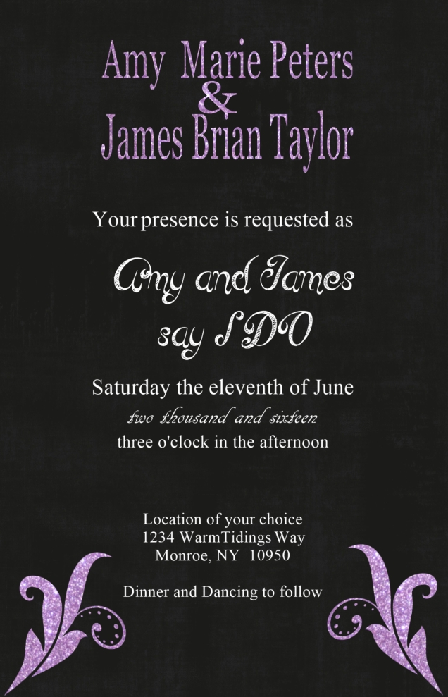 Wedding Invitation Black - Purple Glitter